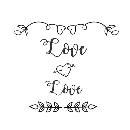 Love Love Heart Arrow Grass Background Vector Image