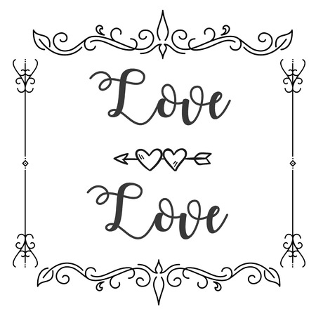 Love Love Abstract Design Square Frame White Background Vector Image