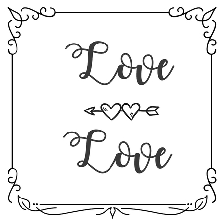 Love Love Heart Arrow Square Frame White Background Vector Image