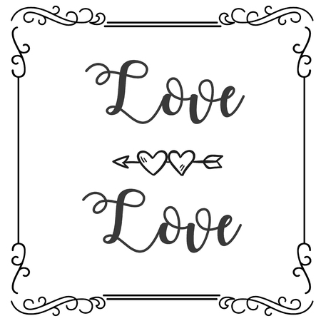 Love Love Abstract Heart Arrow Square Frame Background Vector Image