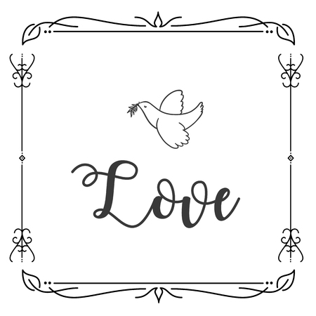 Love Bird Abstract Square Design Background Vector Image Illustration