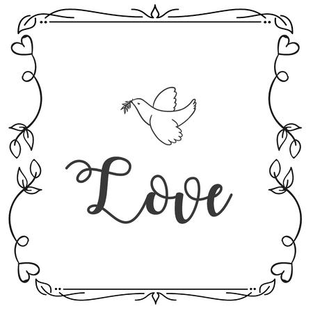 Love Bird Square Frame Design Background Vector Image Illustration
