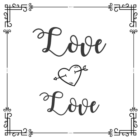 Love Love Square Frame Design Background Vector Image