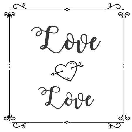 Love Love Heart Arrow Square Frame Background Vector Image Ilustração