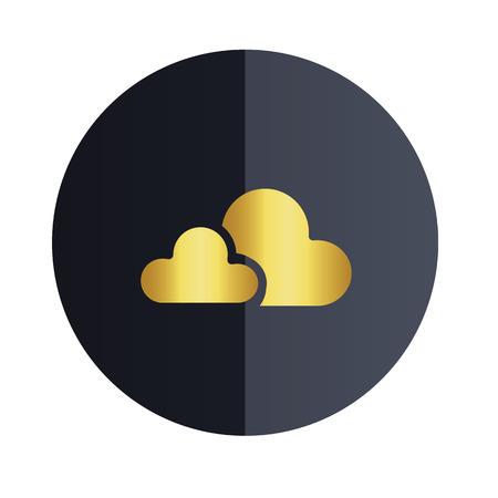 Cloud Icon Design Black Circle Background Vector Image Illustration