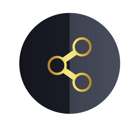 Share Icon Design Black Circle Background Vector Image Illustration