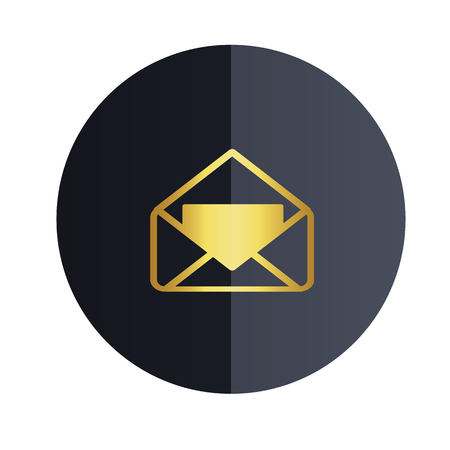 Message Icon Black Circle Background Vector Image