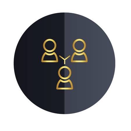 Group People Icon Black Circle Background Vector Image