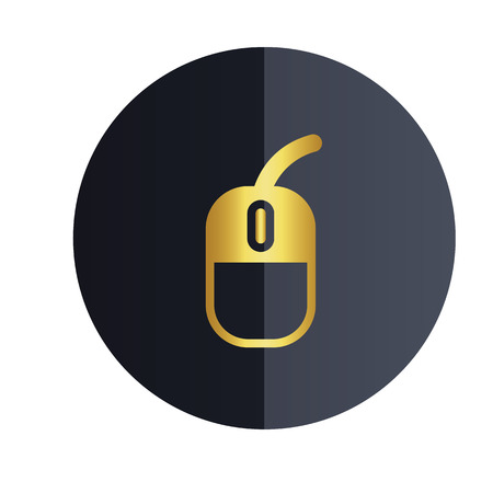 Computer Mouse Icon Black Circle Background Vector Image Illustration