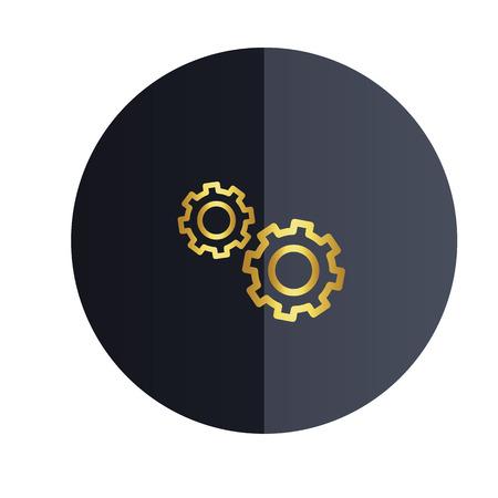 Setting Icon Black Circle Background Vector Image Illustration