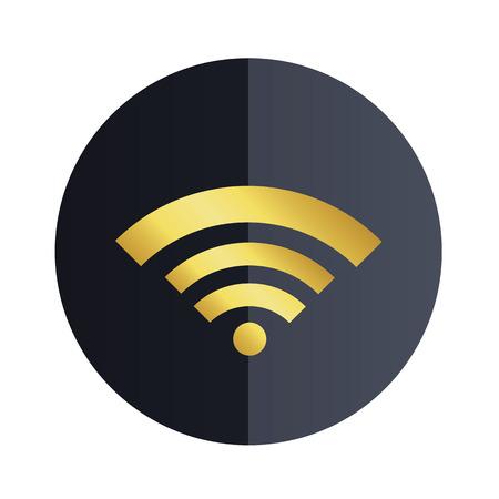 Wifi Icon Black Circle Background Vector Image