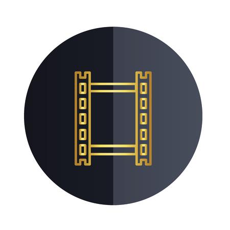Film Strip Icon Black Circle Background Vector Image Illustration