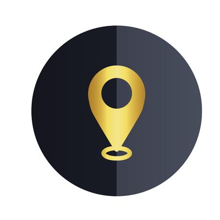 Location Icon Black Circle Background Vector Image