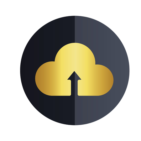 Upload On Cloud Icon Black Circle Background Vector Image