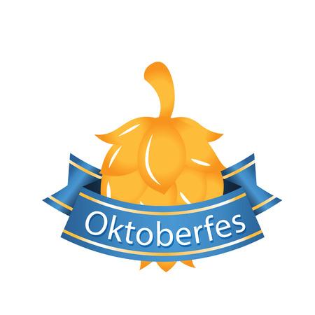 Oktoberfest Blue Ribbon Gold Hop Cones Vector Image Illustration