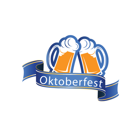 Oktoberfest Blue Ribbon Two Glasses Of Beer Vector Image Illustration