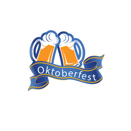 Oktoberfest Ribbon Two Glasses Of Beer Vector Image