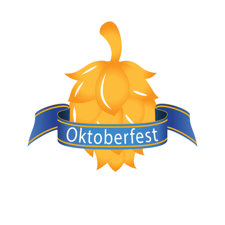 Oktoberfest Blue Ribbon Golden Hop Cones Vector Image