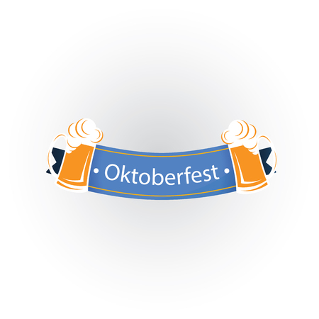 Oktoberfest Blue Ribbon Two Mugs Beer Vector Image