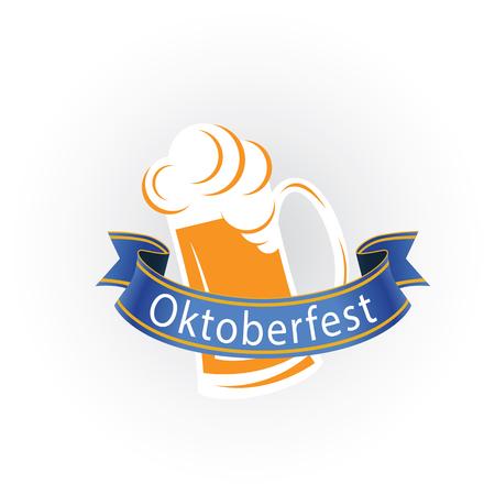 Oktoberfest Blue Ribbon Mug With Beer Vector Image