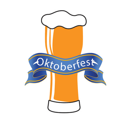 Oktoberfest Blue Ribbon Beer Background Vector Image