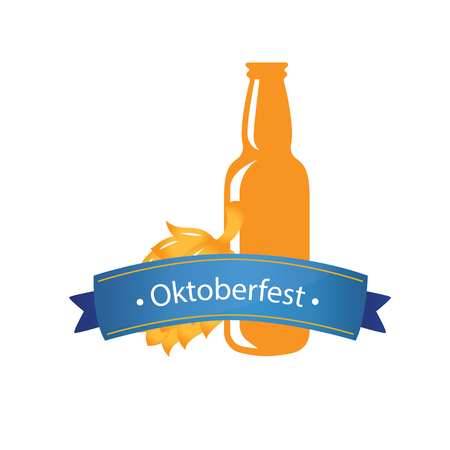 Oktoberfest Blue Ribbon Beer Bottle Background Vector Image