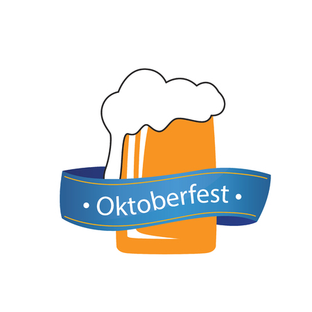 Oktoberfest Blue Ribbon Beer Glass Background Vector Image