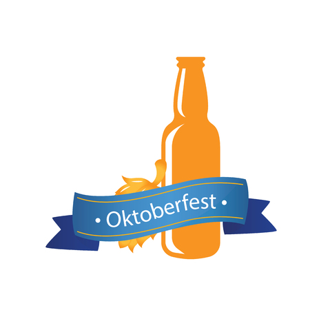 Oktoberfest Blue Ribbon Bottle Beer Background Vector Image