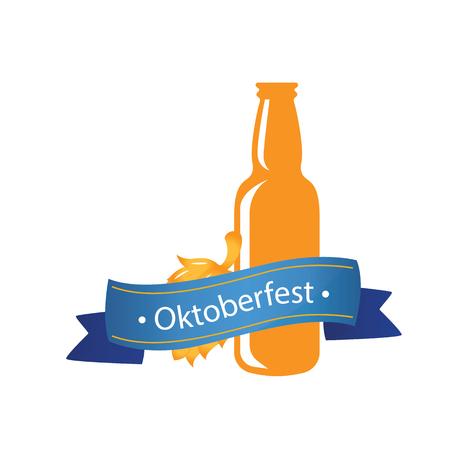 Oktoberfest Blue Ribbon Bottle Beer Background Vector Image