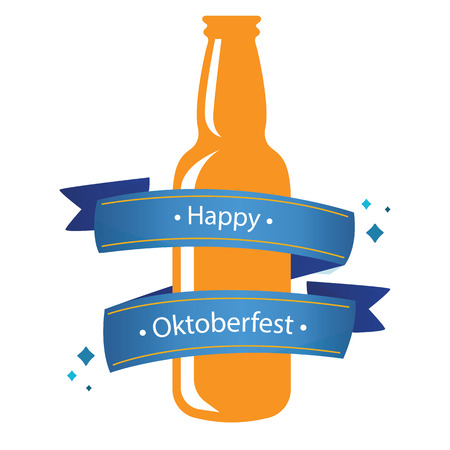 Happy Oktoberfest Blue Ribbon Bottle Beer Background Vector Image