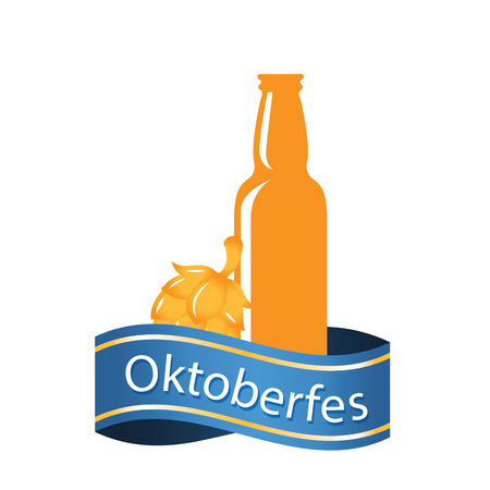 Oktoberfest Blue Ribbon Beer Bottle Vector Image  イラスト・ベクター素材