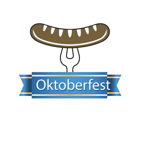 Oktoberfest Blue Ribbon Sausage On The Fork Vector Image