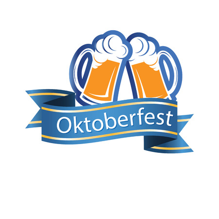 Oktoberfest Blue Ribbon Two Mugs Of Beer Vector Image