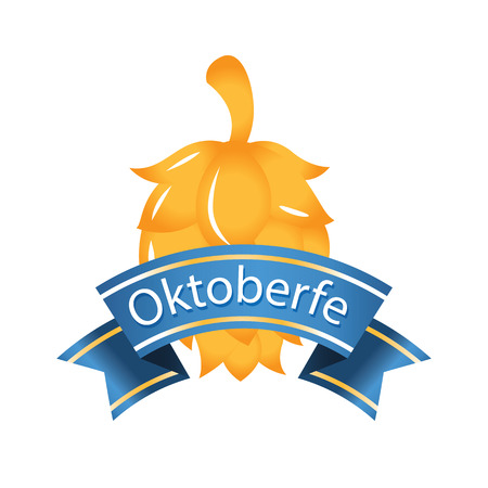 Oktoberfest Blue Ribbon Gold Hop Cones Background Vector Image