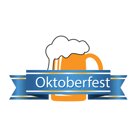 Oktoberfest Blue Ribbon Beer Mug Background Vector Image