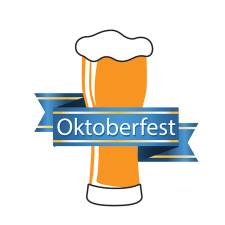 Oktoberfest Blue Ribbon Beer Mug Vector Image