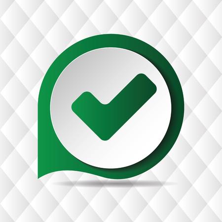 Green Check Mark Icon Geometric Background Vector Image Illustration