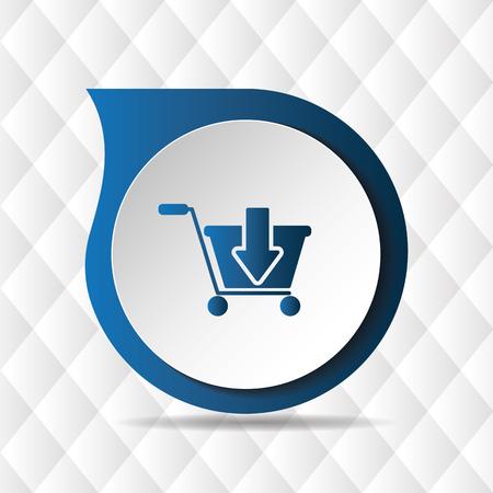 Blue Cart Icon Geometric Background Vector Image Illustration
