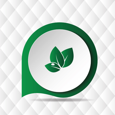 Green Leave Icon Geometric Background Vector Image
