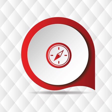 Red Compass Icon Geometric Background Vector Image Illustration