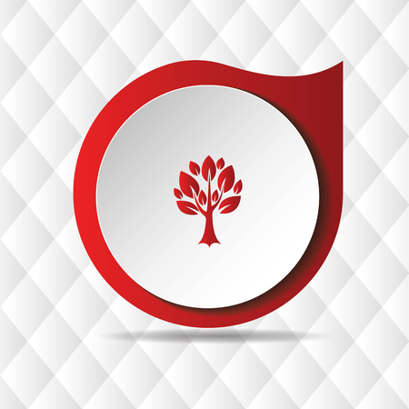 Red Tree Icon Geometric Background Vector Image