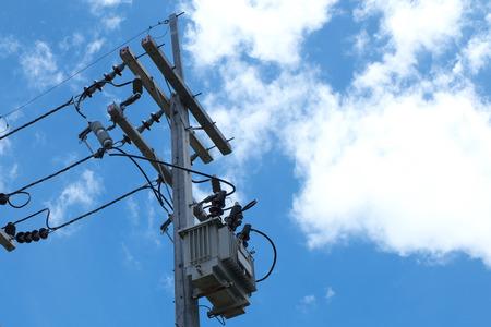 power transformer: High voltage power transformer substation Stock Photo