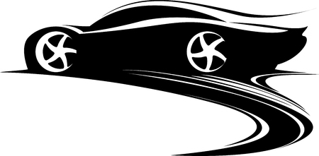Sport car label design. Fast car emblem. Black and white drifting car silhouette. Vector illustration Çizim