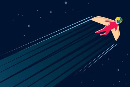 Jet wings flying through the night sky. Aviation technology. Invention concept. Vector illustration