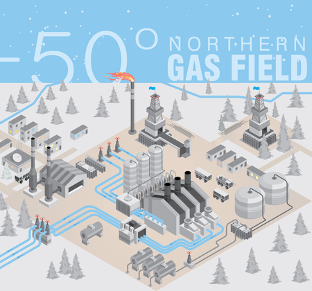 Northern gas field. Extraction and purification of gas. Gas transportation through pipelines in the conditions of low temperature. Vector illustration