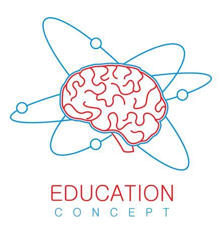Human brain with atom orbits. Education concept. Vector illustration