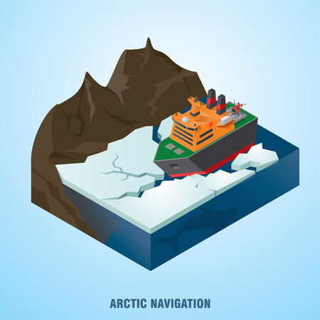Icebreaker breaks the ice. Arctic exploration concept. Vector illustration
