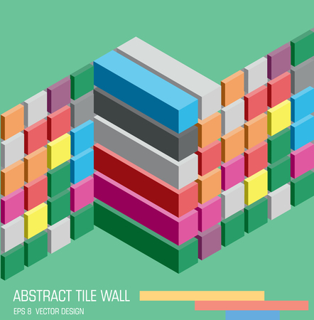 Abstract colorful cube wall on bright green background. Isometric extruded cubes and tiles emblem. Vector illustration. It can be used for infographic, web design, background, emblem, icon