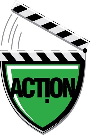 active content: Action camera protection concept. Cinema Clapboard. Shield Isolated on white. Film industry emblem. Vector illustration