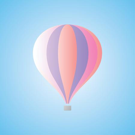 above clouds: Hot air balloon in the blue sky. Human-carrying flight technology. Vector emblem of aerostat. Symbol of lightness. Vector illustration
